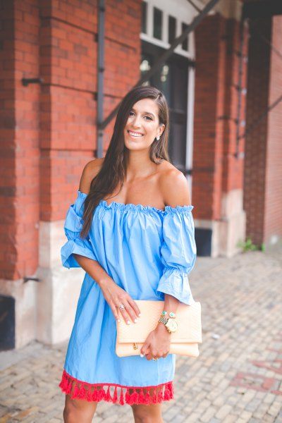 sky blue, off-the-shoulder tassel dress with puff sleeves