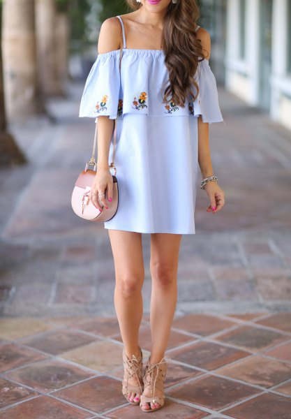 sky blue, floral embroidered ruffle mini dress with open shoulder