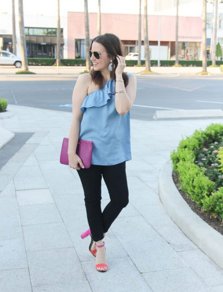sky blue ruffle top with one shoulder and black jeans