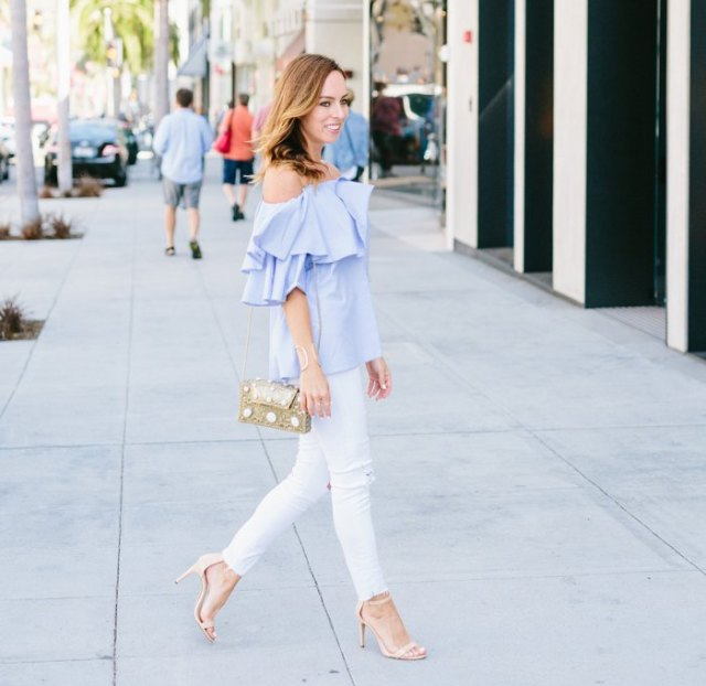 sky blue white skinny jeans with ruffled top