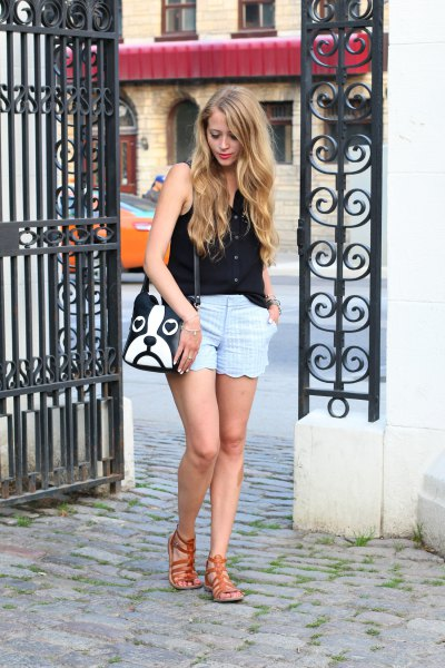 sky blue scalloped shorts black vest