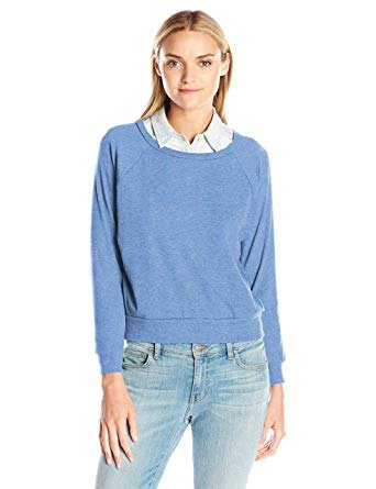 sky blue sweater with scoop neckline and shirt with collar