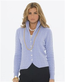 sky blue cardigan with shawl collar and gold chain necklace