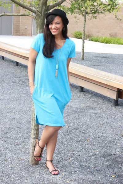 sky blue tunic dress with necklace in boho style