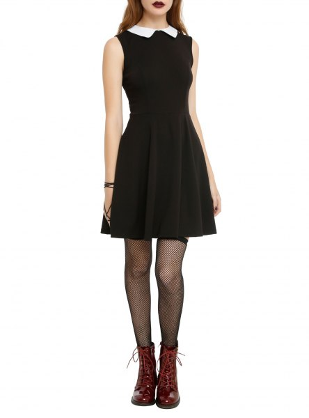 sleeveless dress with black fit and flare with white collar
