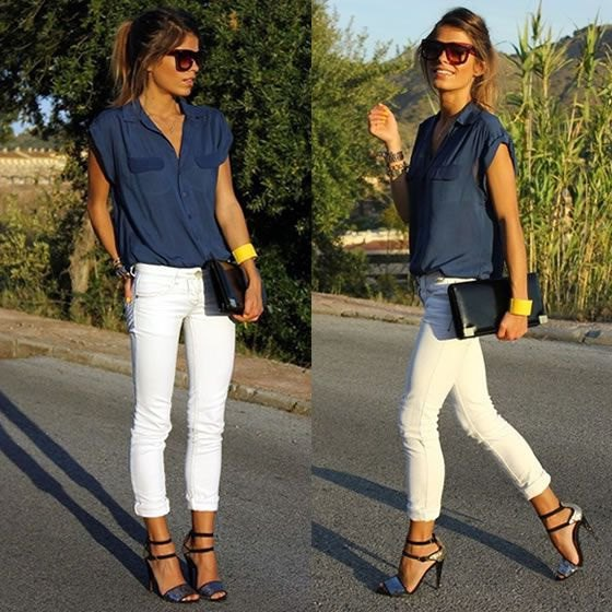 sleeveless butotn-up shirt with white skinny jeans