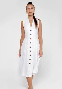 sleeveless midi shift dress made of linen with button placket