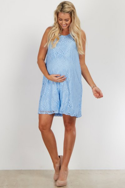 sleeveless light blue lace maternity dress