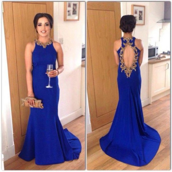 sleeveless royal blue dress with an open back