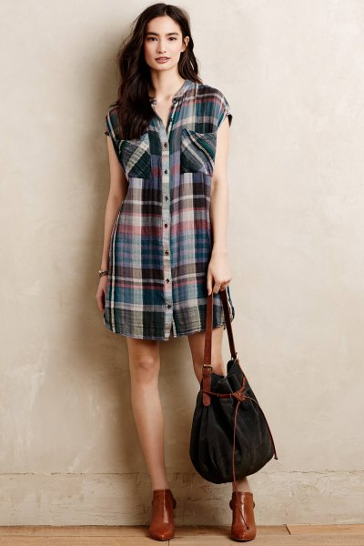 sleeveless checkered tunic brown leather ankle boots