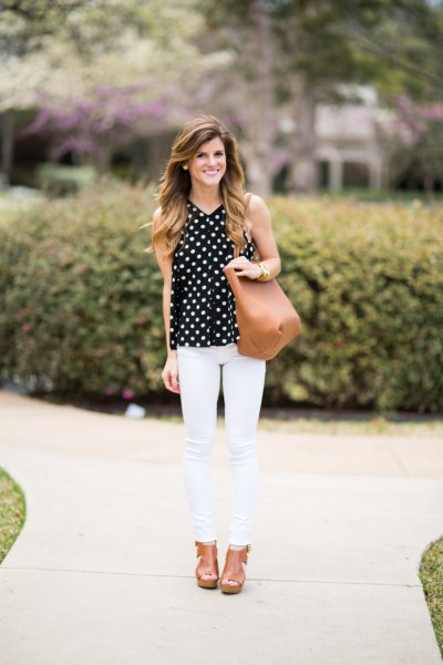 sleeveless dotted blouse white skinny jeans