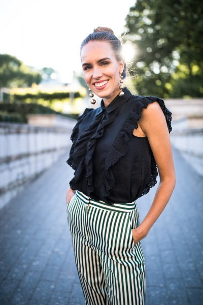 sleeveless black and white striped trousers with a ruffled top