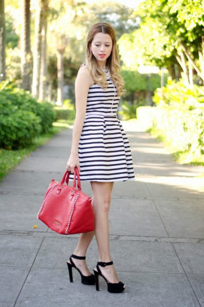 sleeveless striped dress with open toes