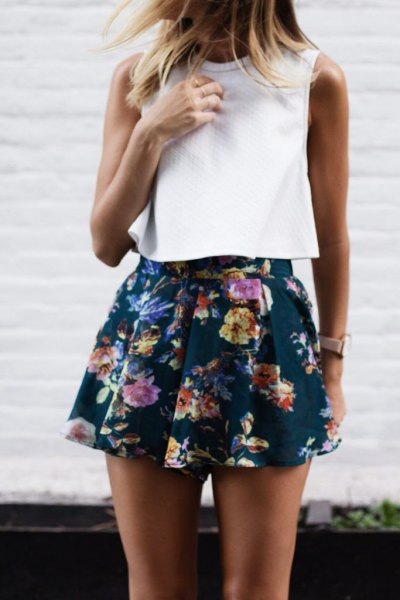 sleeveless white top navy chiffon shorts with floral pattern