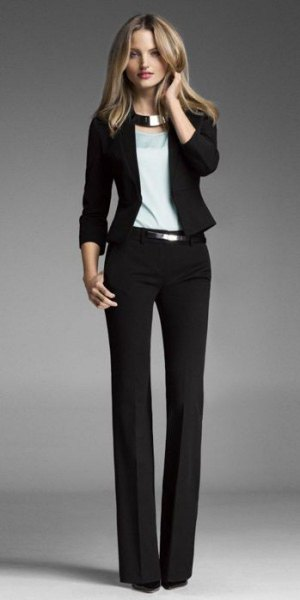 Slim fit blazer with suit trousers and silver metallic collar