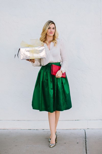 Slim fit blouse with green silk midi skirt