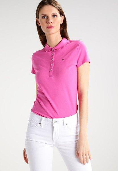 Slim fit polo shirt with white skinny jeans