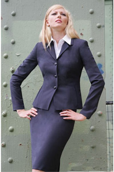 slim fit skirt suit with white shirt with buttons