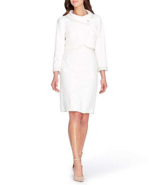 Slim fit wrap blazer with a knee-length shift dress and pink heels