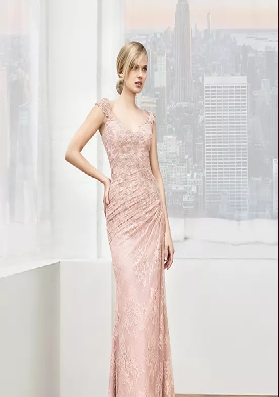 delicate pink long mother of the bride dresses