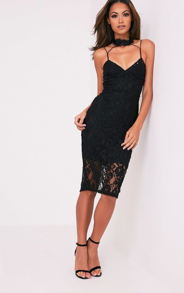 Spaghetti strap choker bodycon lace dress