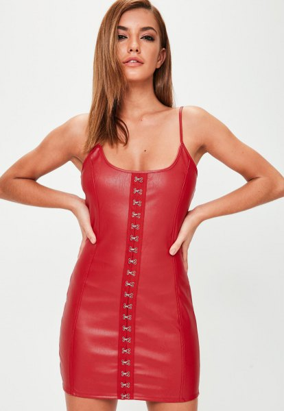 Spaghetti straps lace up leather mini dress