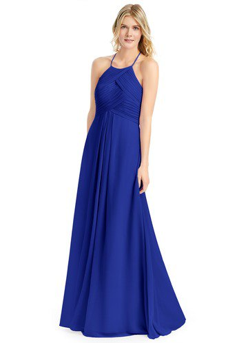 Royal blue dress with spaghetti straps and silver, open toe heels