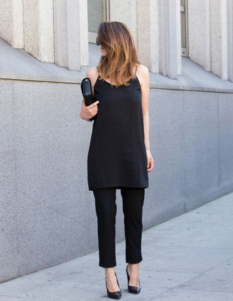 Tunic chiffon top with spaghetti straps, chinos and black leather clutch