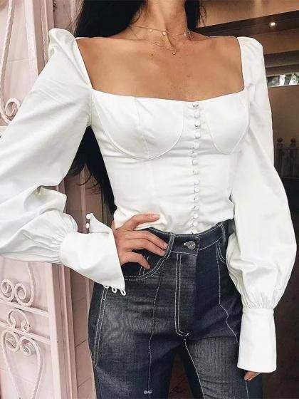 White Square Neck Tie Back Puff Sleeve Women Crop Shirt | Fashion .