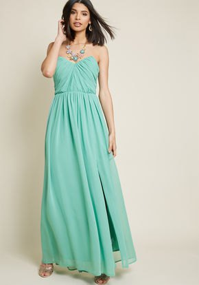 Strapless sweetheart neckline with a fit and a flared maxi chiffon dress