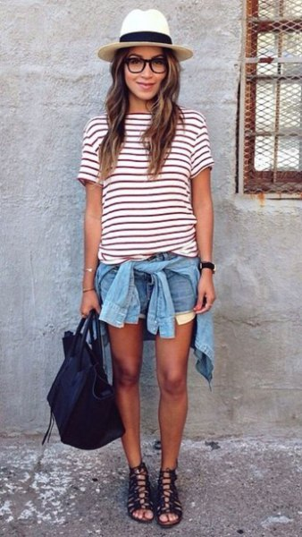 striped t-shirt denim shorts with a straw hat