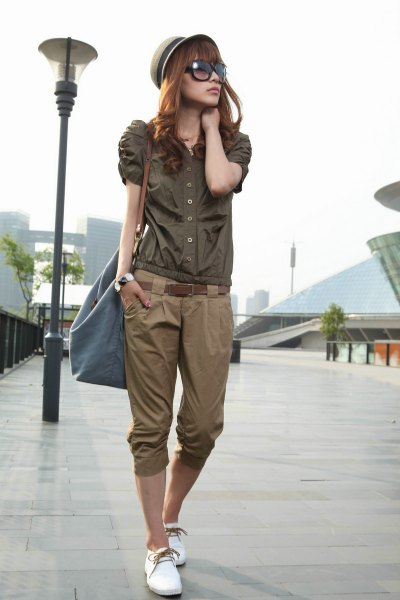 Straw hat with a silk button dress with shortened khaki pants