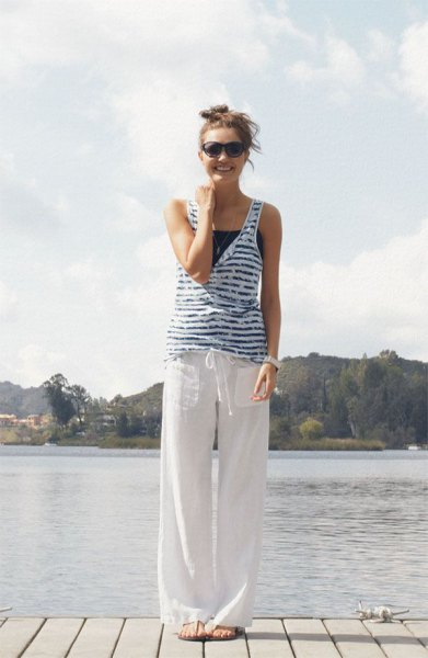 striped blue and white vest made of linen