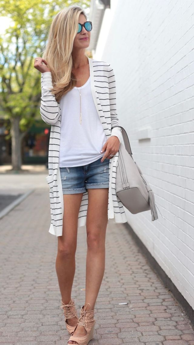striped cardigan sweater denim shorts