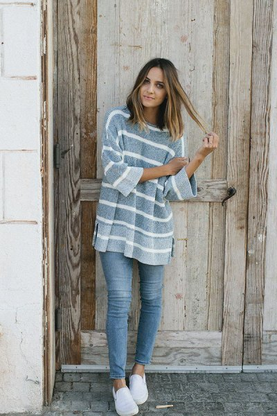 striped chunky sweater gray stretch jeans