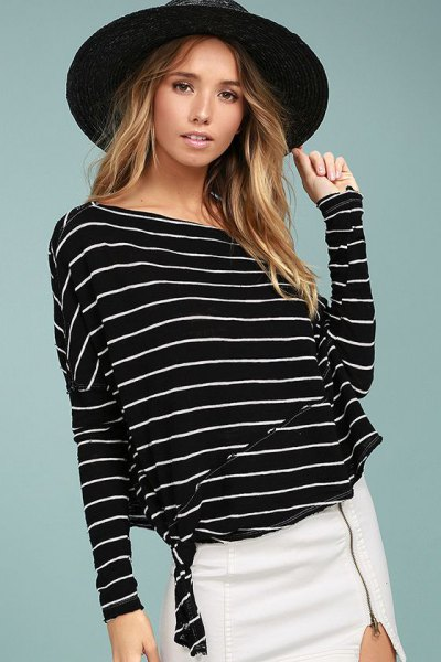 striped white skirt with dolman sleeves