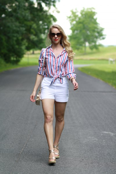 striped knotted shirt with buttons and white high-waist shorts