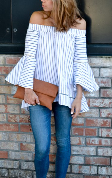 striped bell-neck blouse