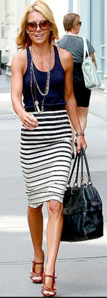 striped pencil skirt navy vest top