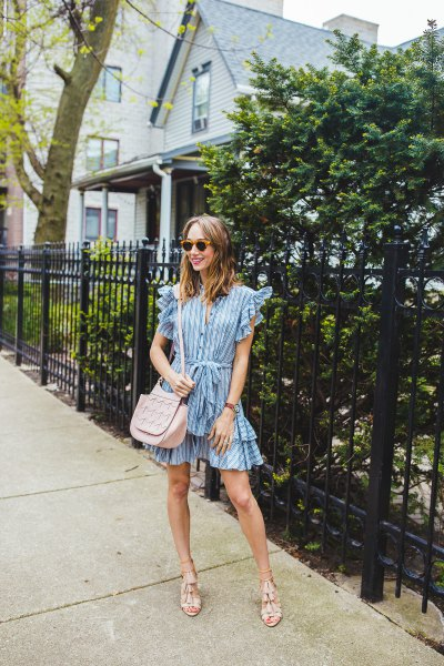 striped mini dress with ruffle sleeves and multiple layers