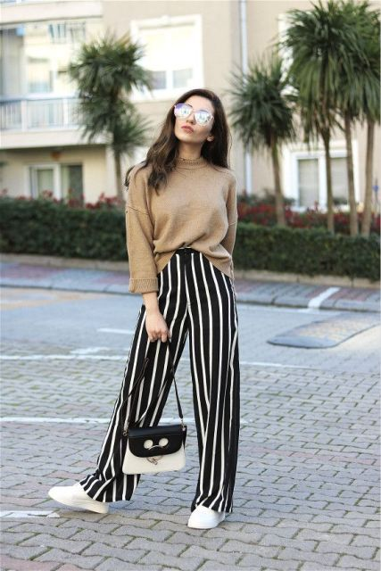 15 Feminine Outfits With Striped Wide Leg Pants - Styleohol
