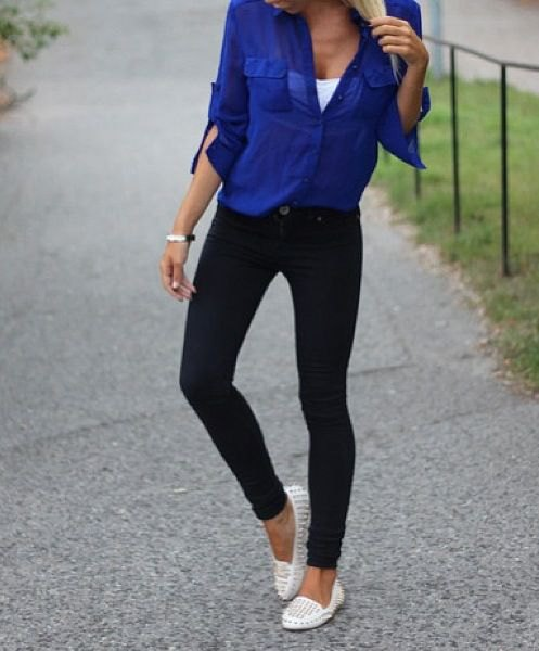 Studded white loafers. Royal blue shirt. Black skinny jeans