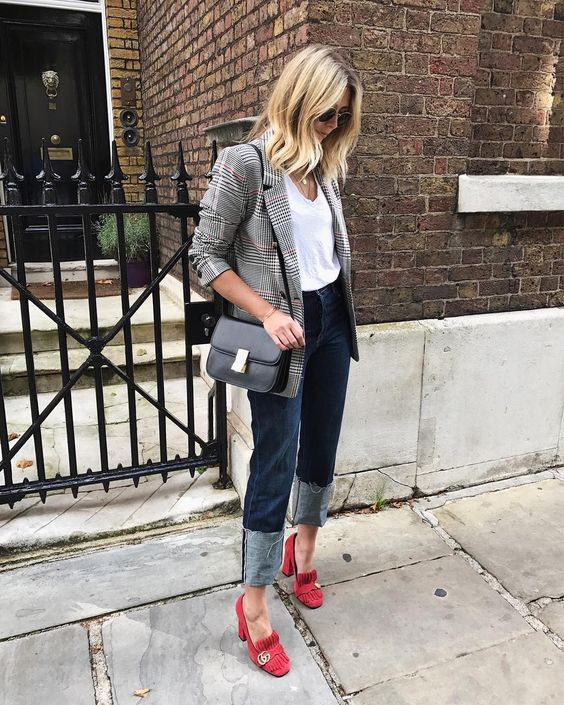Suede plaid blazer