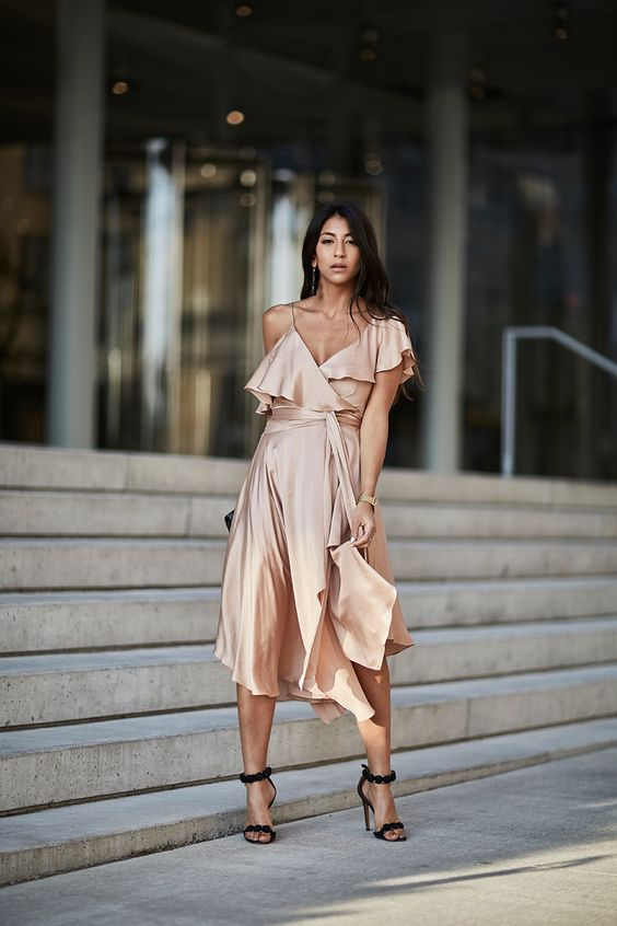 Suede Heels Silk Dress Peach