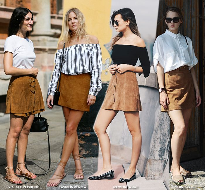 In Fashion | Suede Mini Skirts - Blue is in Fashion this Year .
