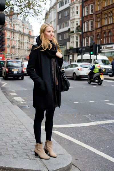 Suede pointy toe ankle boots wool coat