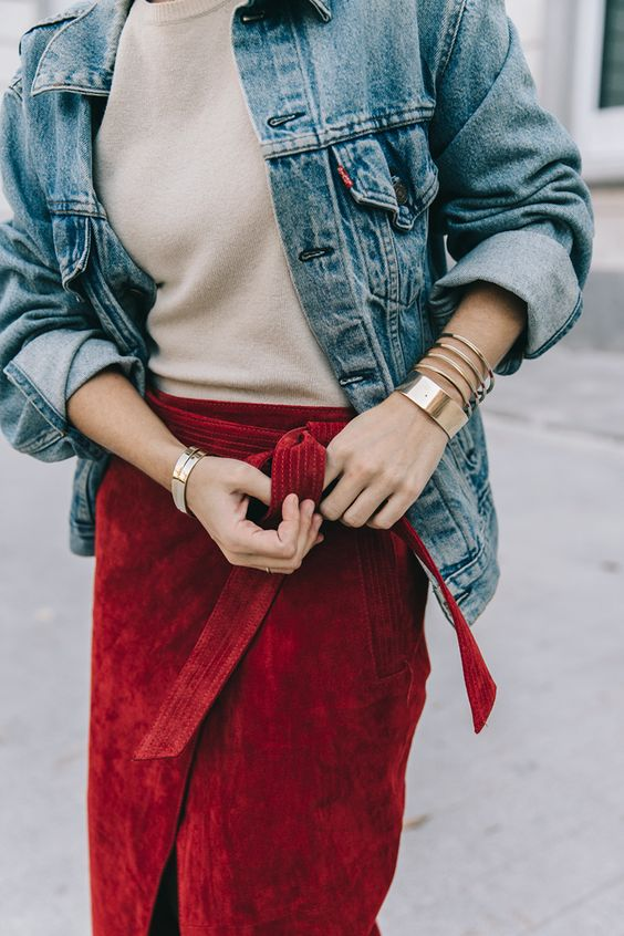 red wrap of suede skirt