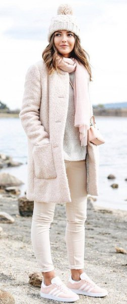 super light pink fuzzy coat with matching knitted scarf and knitted hat