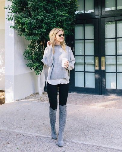 OTK boots, Stuart Weitzman boots, grey boots outfit, grey sweater .