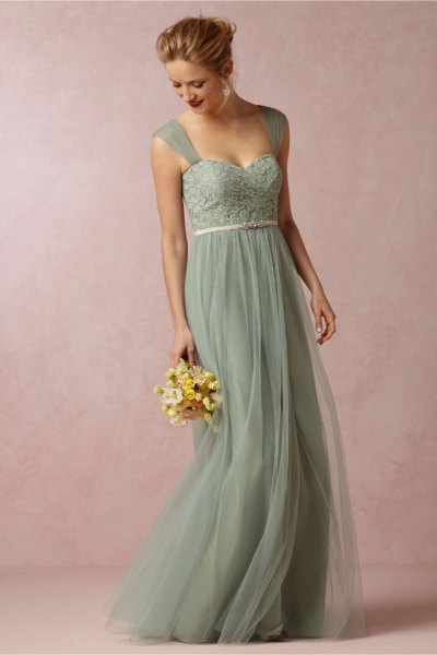 Mini chiffon bridesmaid dress with a green belt and sweetheart neckline